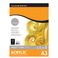 Daler Rowney Simply Acrylic Pad 16sht 190gsm A3