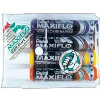 Pentel MWL6 Maxiflow White Board Marker Chisel Tip Wallet of 4Pcs Light Colors
