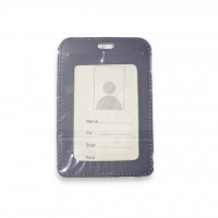 ID Card Holder (PULeather) Grey - Model 1