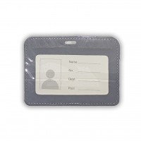 ID Card Holder (PULeather) Grey - Model 2