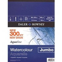 "Daler Rowney Aquafine Watercolour Jumbo Pad (300gsm/50sht) 12 x 9"" (305 x 229mm)"
