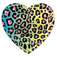FABRIC IRON ON - NEON LEOPARD HEART