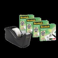 Scotch Desktop Pack Dispenser Black C60-BK4. Include 1 C60 dispenser  + 4 rolls  Magic tape 19mm x 33m . Up to 36 yd (33m) rolls