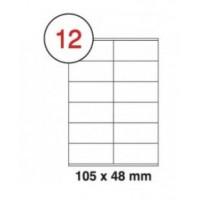 Formtec Labels 105x48mm 12 Labels Per Sheet Box of 100 Sheets