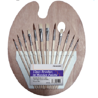 ArtMax Wooden Palette with 12Pcs Brush Set