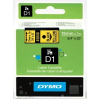 Dymo S0720880 D1 45808 Tape 19mm x 7m Black on Yellow