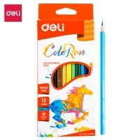Deli Plastic Colored Pencil Triangle Bright 12C