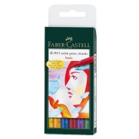 "FABER-CASTELL PITT Artist Drawing Ink Pen ""Basic colors"" Wallet of 6"