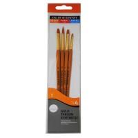 Daler Rowney Simply Set Brush Wallets Short Handle Gold Taklon Brush St 4Pc #3 Sh