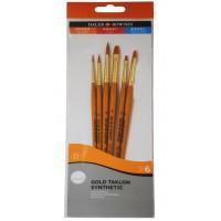 Daler Rowney Simply Set Brush Wallets Short Handle Gold Taklon Brush St 6Pc #1 Sh