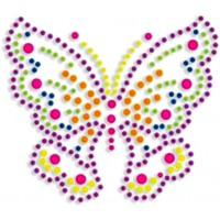 HOT FIX IRON ON - NEON RHINESTUD BUTTERFLY (MED)