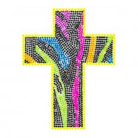 HOT FIX IRON ON - NEON RHINESTUD ZEBRA CROSS
