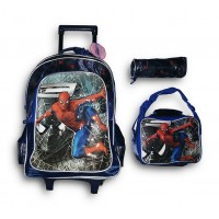 "Trolley Bag 18"" Spiderman (BAG + Lunch Bag + Pencil pouch)"
