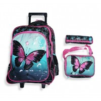 Trolley Bag 18 inches Butterfly (BAG + Lunch Bag + Pencil pouch)