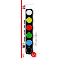 Marabu Acrylic Paints set BASIC, 6 x 3,5 ml