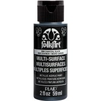 FOLKART MULTI-SURFACE Specialty Paint - METALLIC CHARCOAL BLACK