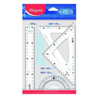 Maped Ruler 20cm Cristal Medium Set of 4 Pcs