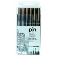 Uni Pin 200 Fine Liner PAC=06ea BK GY