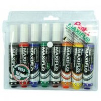 Pentel MWL6 Maxiflo White Boar Marker Chisel Value Pack of 8 Pcs