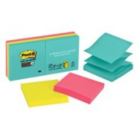 Post-it Pop-up Super Sticky Notes Miami collection R330-6SSMIA. 3 x 3 in (76 mm x 76 mm), 90 sheets/pad, 6 pads/Pack