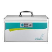 Glosen Lockable First Aid Box/Medicine Storage Box with Portable Handle Small Silver