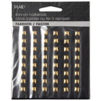 HOT FIX IRON ON - NAILHEAD SQUARE SHINY GOLD