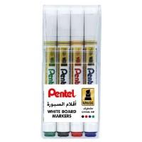 Pentel MW85 White Board Marker Bullet Tip Wallet of 4 Pcs Asst colors