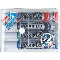 Pentel MWL5M Maxiflow White Board Marker Bullet Tip Wallet of 4Pcs