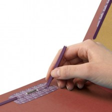 """""""SMEAD PRESSBOARD CLASSIFICATION FILE FOLDER WITH SAFE SHIELD® FASTENERS 1 DIVIDER 2 INCH EXPANSION RED"""""""