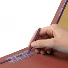 """""""SMEAD PRESSBOARD CLASSIFICATION FOLDER WITH POCKET DIVIDER AND SAFE SHIELD® FASTENERS 2 DIVIDERS 2 INCH EXPANSION RED"""""""
