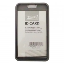 ID Card Holder With Rubber Back Gray
