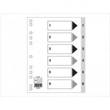 Divider (1-6) Pvc A4 Gray