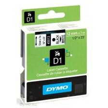 Dymo Labelling Tapes (12mmx7m) D1 Black Printing on White lable -45013
