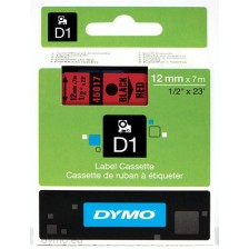 Dymo Labelling Tapes (12mmx7m) D1 Black Printing on Red lable -45017